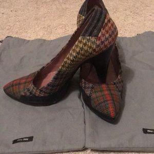 "Miu Miu heels (approx. 3"") tweed plaid patchwork"